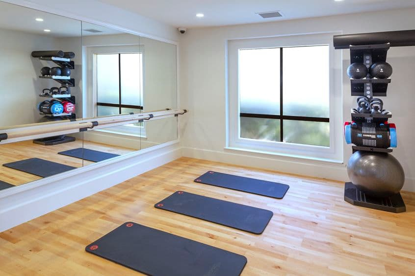 Interior view of fitness center at Northwood Place Apartment Homes in Irvine, CA.