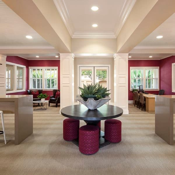 Interior view of leasing center at Oak Glen Apartment Homes in Irvine, CA.