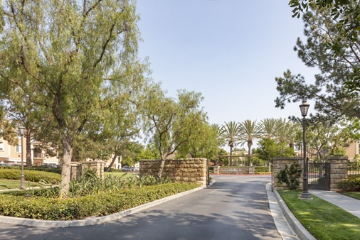 Exterior view of entrance at Oak Glen Apartment Homes in Irvine, CA.