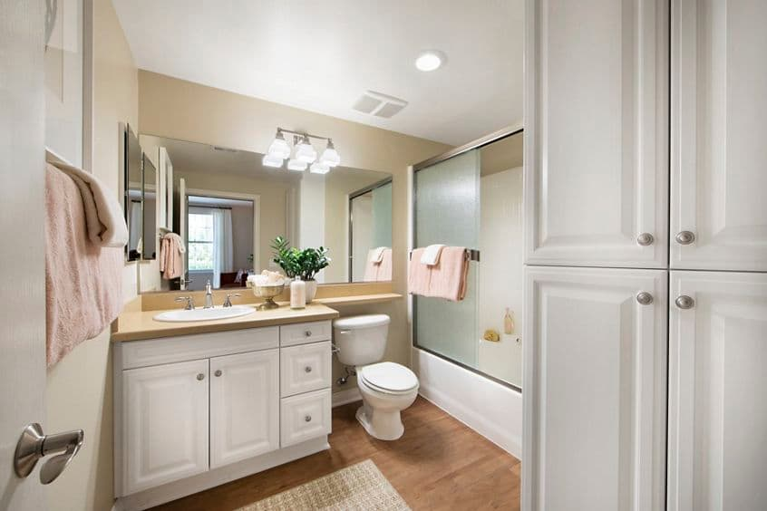 Interior view of bathroom at Orchard Hills Apartment Homes in Irvine, CA.