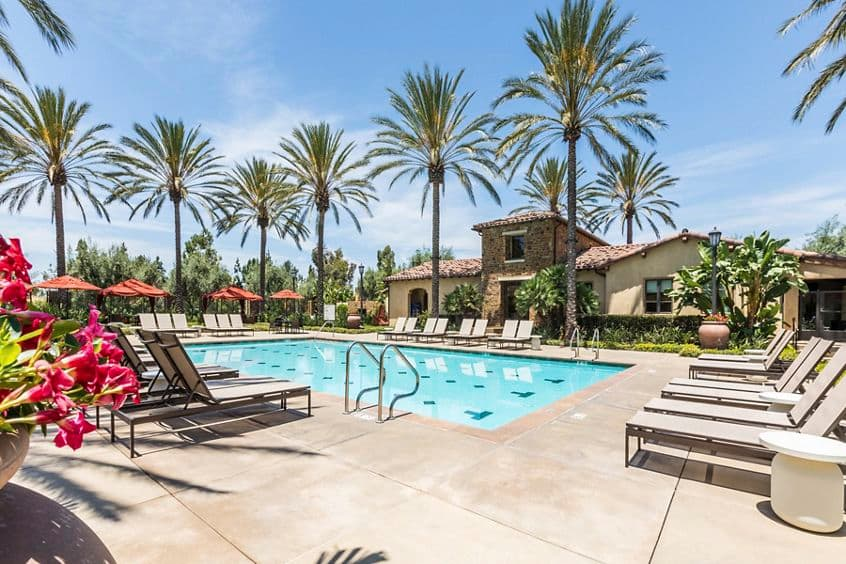 Pool view at Orchard Hills Apartment Homes in Irvine, CA.