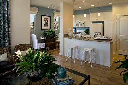 Interior view of kitchen at Palmeras Apartment Homes in Stonegate, Irvine, CA.
