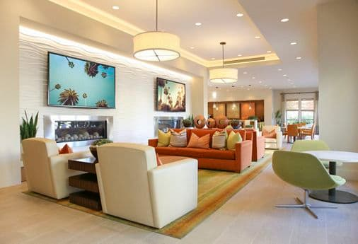 Interior view of Clubhouse at Park Place Apartment Homes in Irvine, CA.