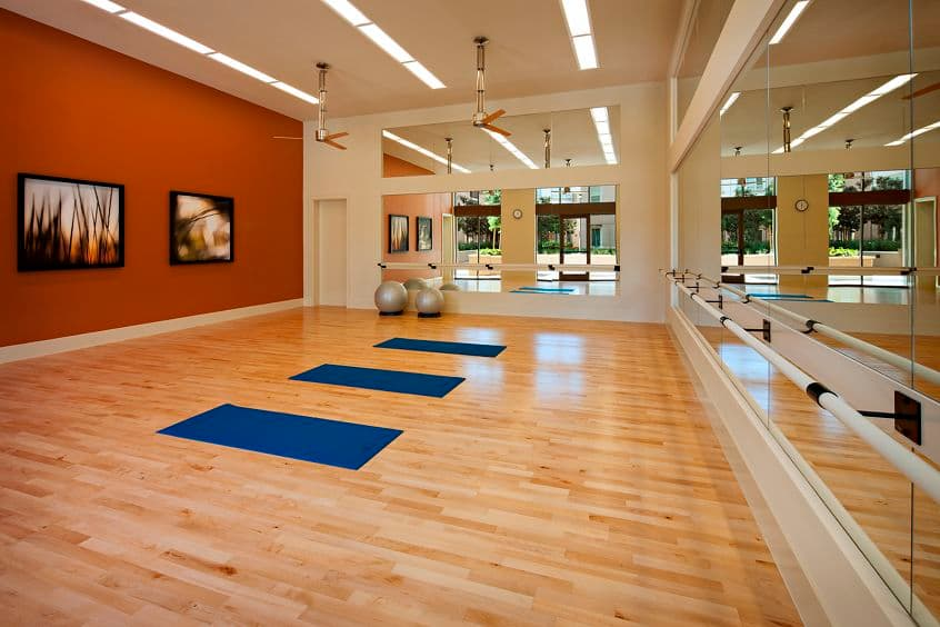 Interior view of the fitness center at Park Place Apartment Homes in Irvine, CA.