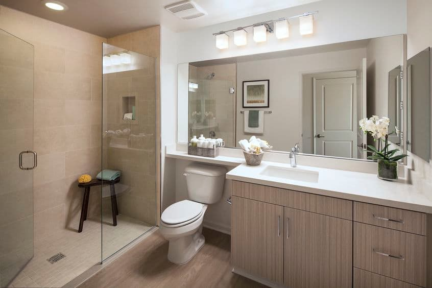 Interior view of bathroom at Park Place Apartment Homes in Irvine, CA.