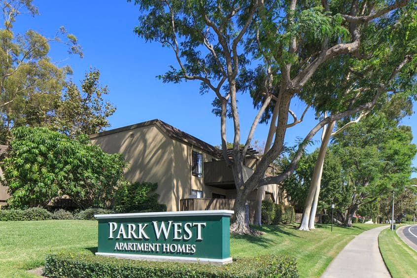 Exterior view of at Park West Apartment Homes in Irvine, CA.