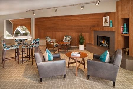 Interior view of clubhouse at Parkwood Apartment Homes in Irvine, CA.