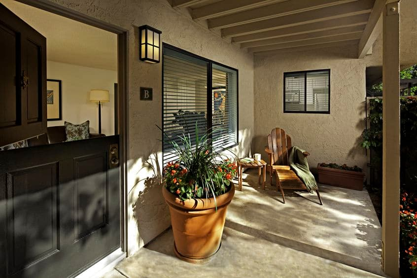Exterior view of porch at Parkwood Apartment Homes in Irvine, CA.