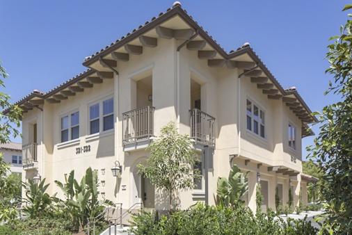 Exterior view of Portola Court Apartment Homes in Irvine, CA.
