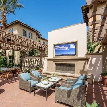 Exterior view of courtyard at Portola Court Apartment Homes in Irvine, CA.