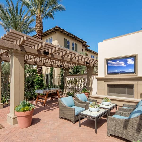 Interior view of courtyard at Portola Court Apartment Homes in Irvine, CA.
