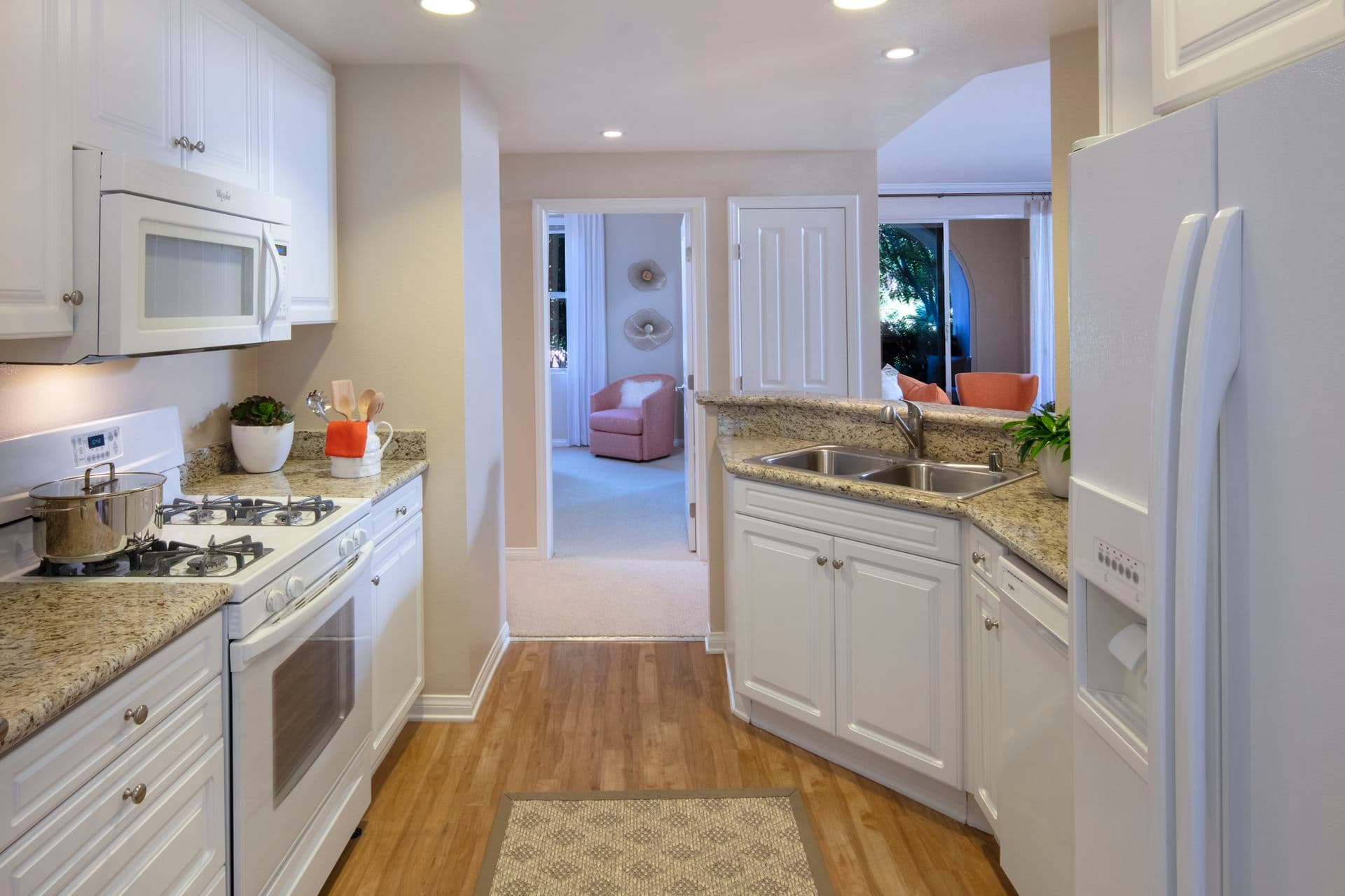 Interior view of kitchen at Portola Place Apartment Homes in Irvine, CA.