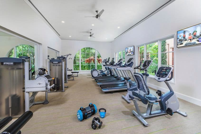 Interior view of Fitness Center at Portola Place Apartment Homes in Irvine, CA.