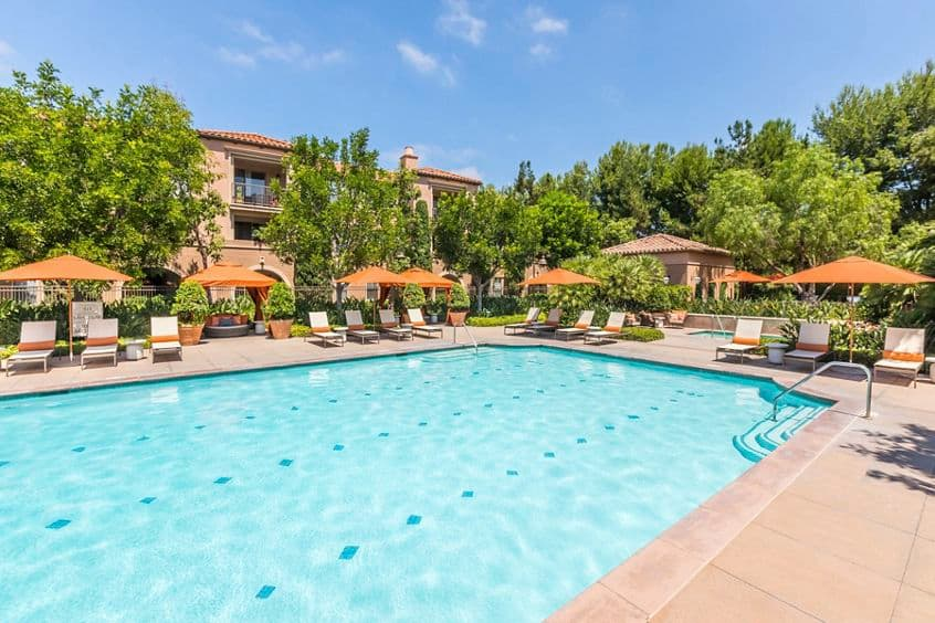 Exterior view of spa at Portola Place Apartment Homes in Irvine, CA.