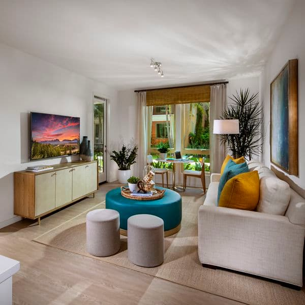 Interior view of living room at Promenade Apartment Homes in Irvine, CA.