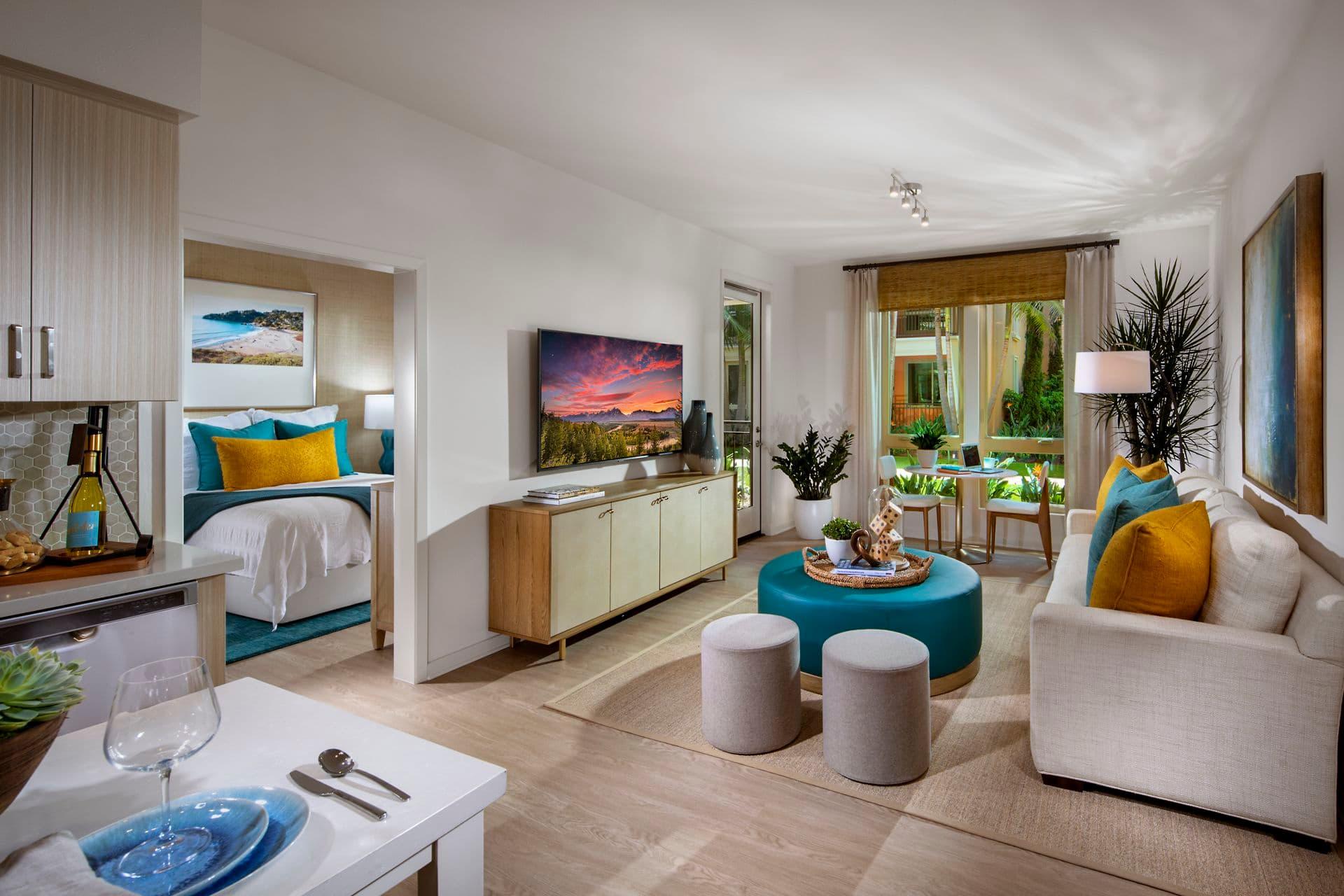 Interior view of living room at Promenade Apartment Homes in Irvine, CA.