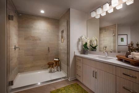 Interior view of bathroom at Promenade Apartment Homes in Irvine, CA.