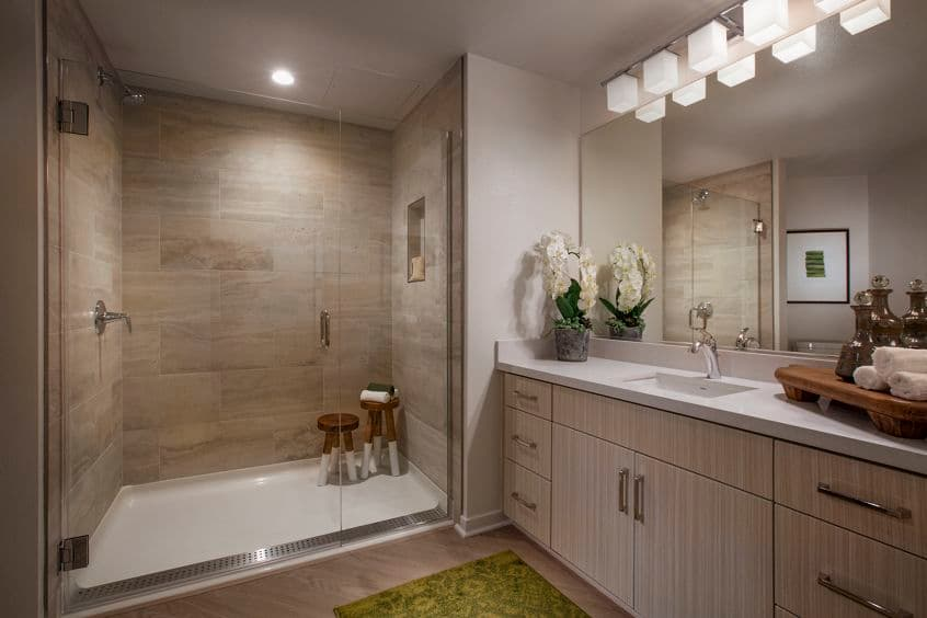 Interior view of bathroom at Promenade Apartment Homes in Irvine, CA.