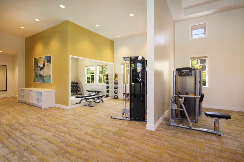 Interior view of fitness center Quail Hill Apartment Homes in Irvine, CA.