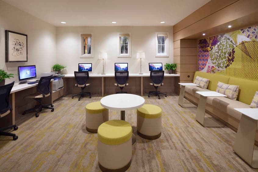 Interior view of business center iLounge at Quail Hill Apartment Homes in Irvine, CA.