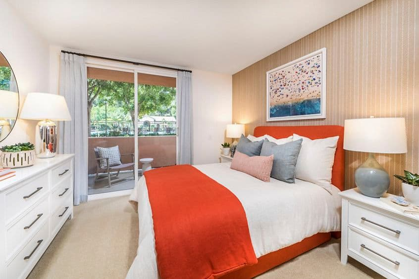 Interior view of bedroom at Quail Hill Apartment Homes in Irvine, CA.