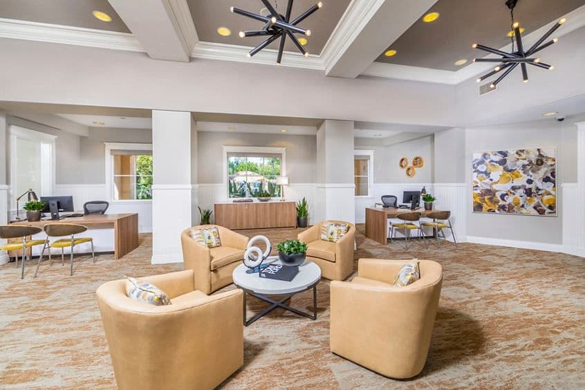 Interior view of leasing center at Quail Hill Apartment Homes in Irvine, CA.