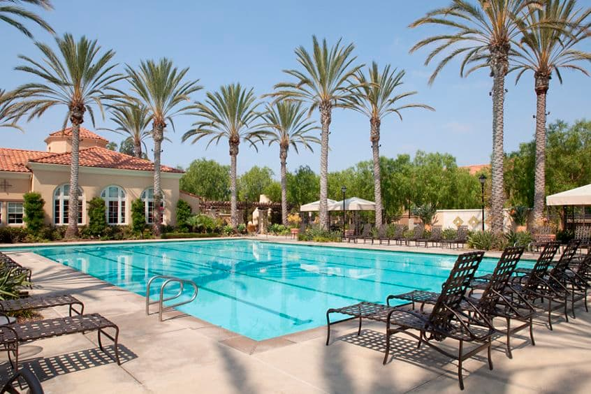 Exterior view of pool at Quail Ridge Apartment Homes at Quail Hill in Irvine, CA.
