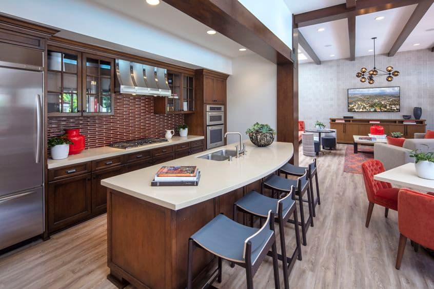 Interior view of clubhouse at Rancho San Joaquin Apartment Homes in Irvine, CA.