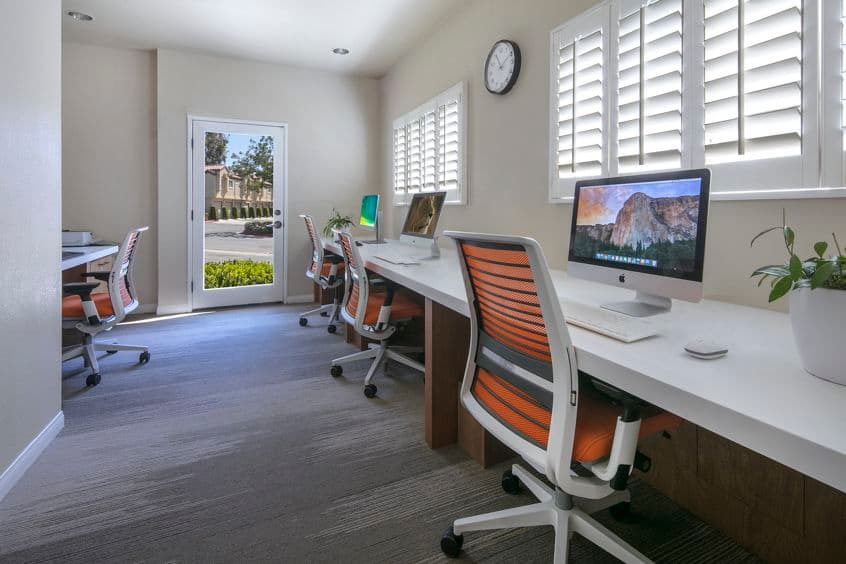 Interior view of business center at San Carlo Villa Apartment Homes in Irvine, CA.
