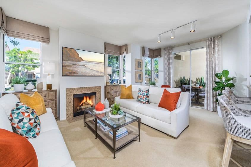 Interior view of living room at San Carlo Villa Apartment Homes in Irvine, CA.