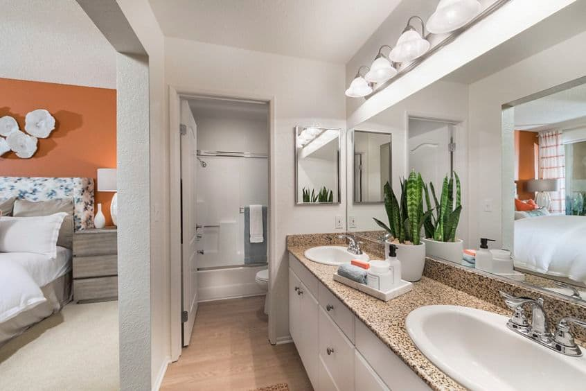 Interior view of master bathroom at San Carlo Villa Apartment Homes in Irvine, CA.