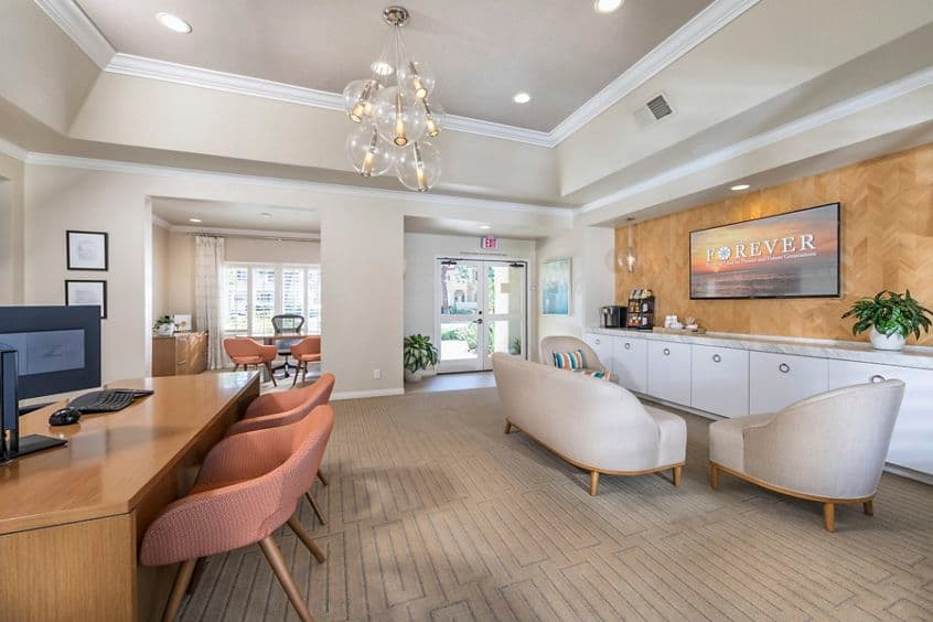 Interior view of leasing center at San Carlo Villa Apartment Homes in Irvine, CA.