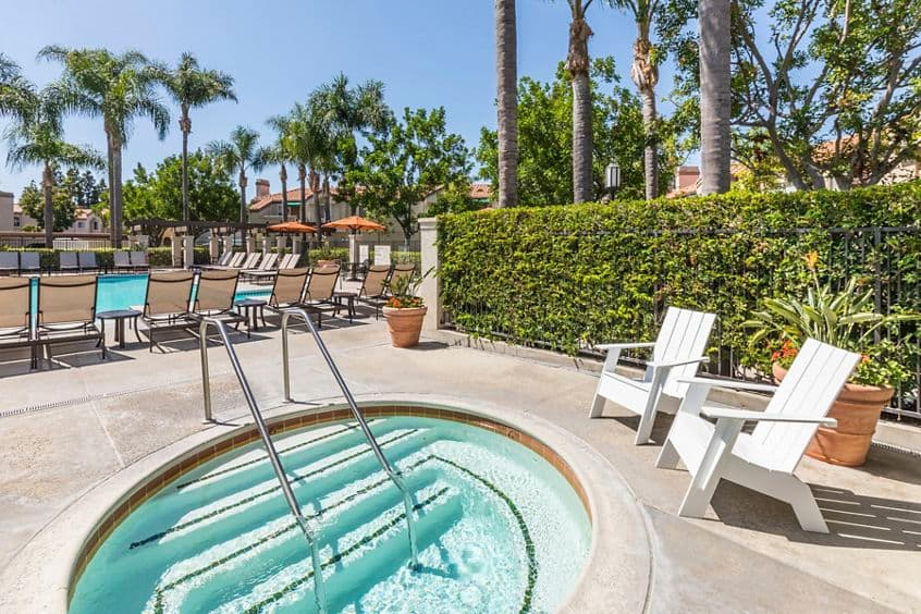 Daytime spa view of San Carlo Villa Apartment Homes in Irvine, CA.