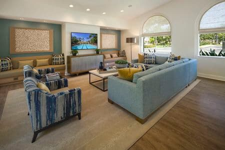 Interior view of Clubhouse at San Leon Villa Apartment Homes in Irvine, CA.