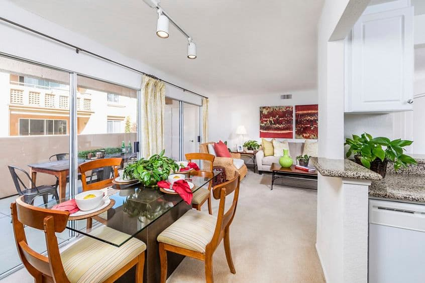 Interior view of dining room at San Leon Villa Apartment Homes in Irvine, CA.