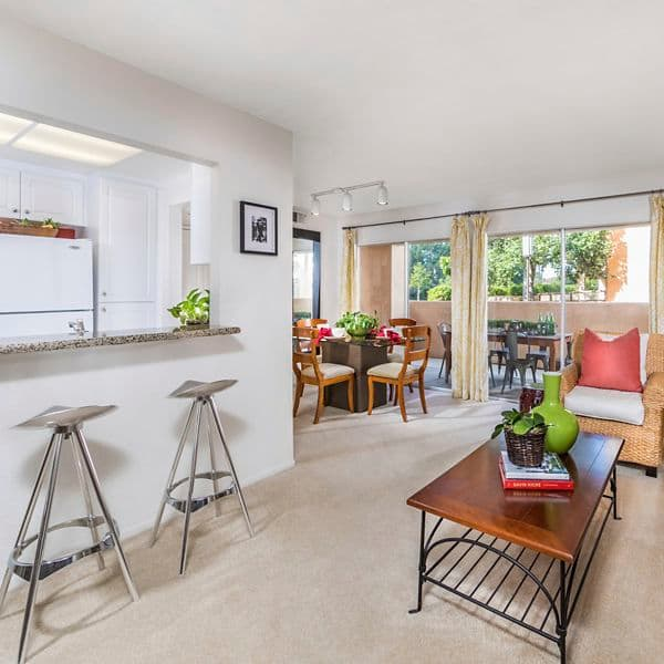 Interior view of living room at San Leon Villa Apartment Homes in Irvine, CA.