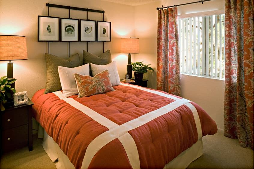 Interior view of bedroom at San Marco Villa Apartment Homes in Irvine, CA.
