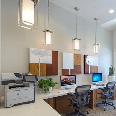 Interior view of business center at San Marco Villa Apartment Homes in Irvine, CA.