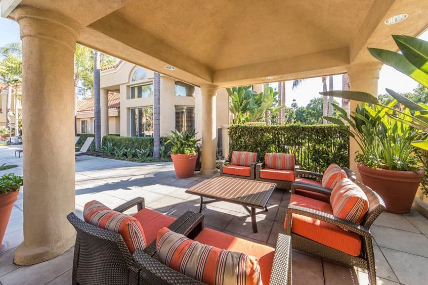 Exterior view of patio at San Marco Apartment Homes in Irvine, CA.