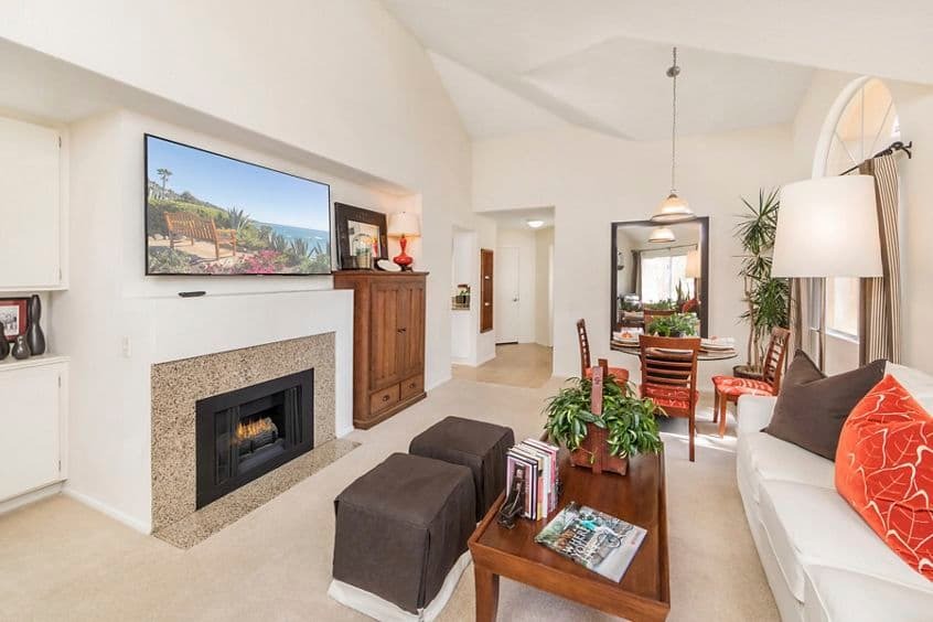 Interior view of living room at San Marco Apartment Homes in Irvine, CA.