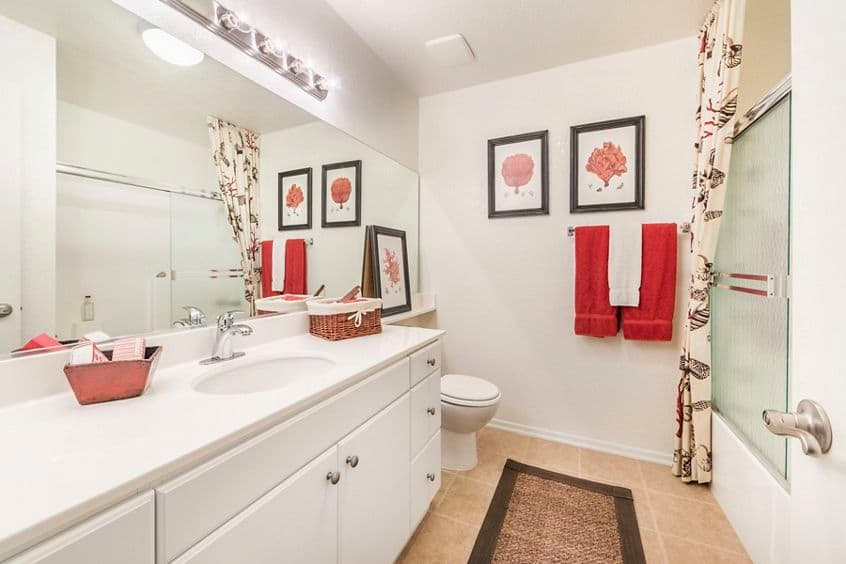 Interior view of bathroom at San Marco Apartment Homes in Irvine, CA.