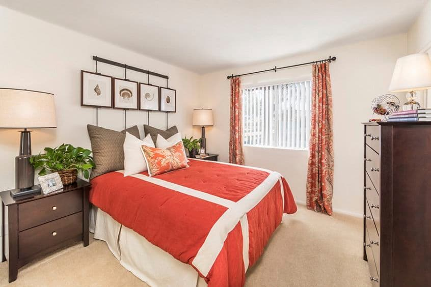 Interior view of bedroom at San Marco Apartment Homes in Irvine, CA.