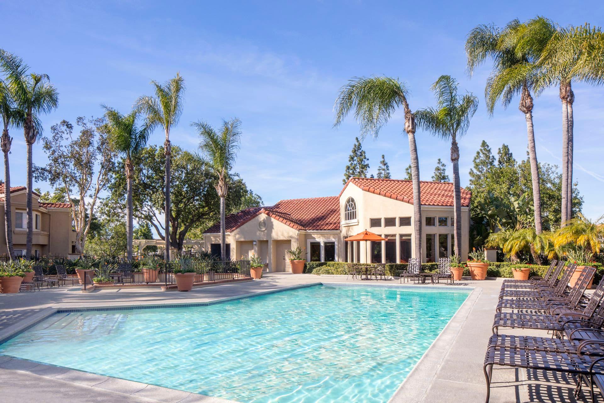 Pool view at San Marino Villa Apartment Communities in Irvine, CA.