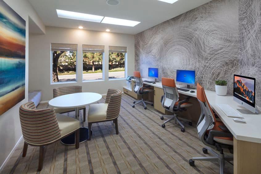 Interior view of business center at San Marino Villa Apartment Communities in Irvine, CA.
