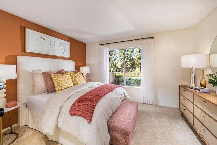 Interior view of bedroom at San Marino Villa Apartment Homes in Irvine, CA.