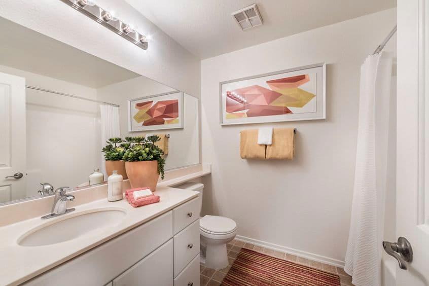 Interior view of bathroom at San Marino Villa Apartment Homes in Irvine, CA.
