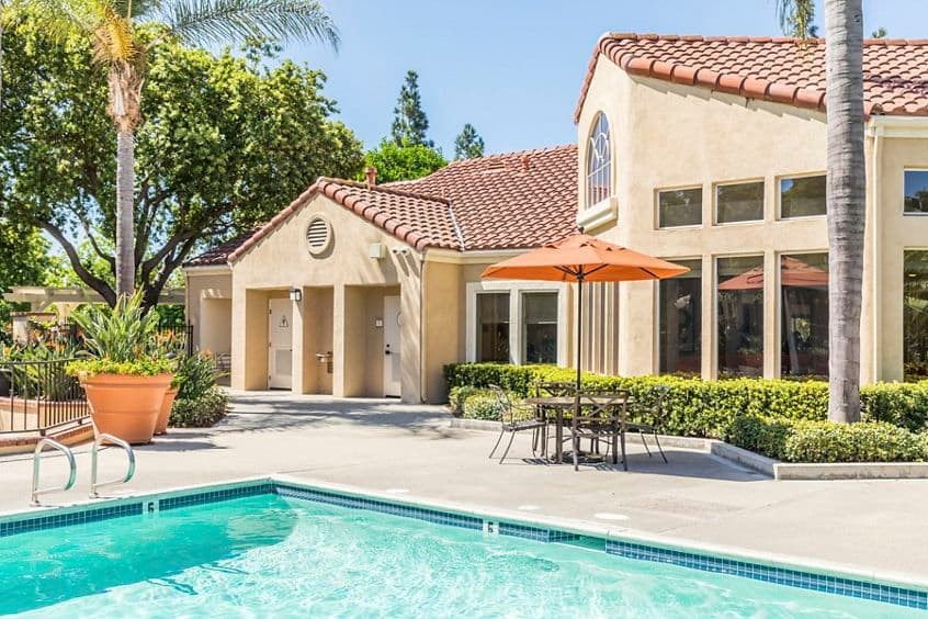Daytime pool view at San Marino Villa Apartment Communities in Irvine, CA.