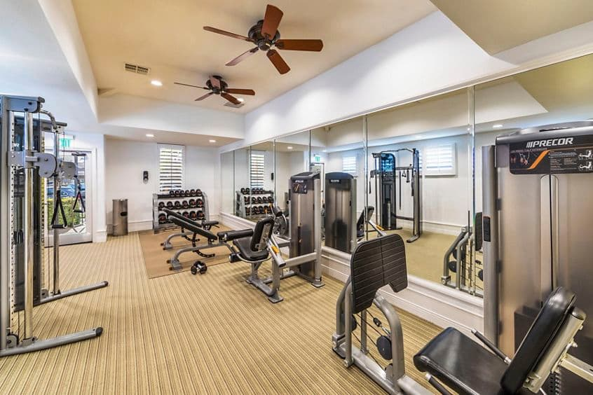 Interior view of Fitness Center at San Mateo Apartment Homes in Irvine, CA.