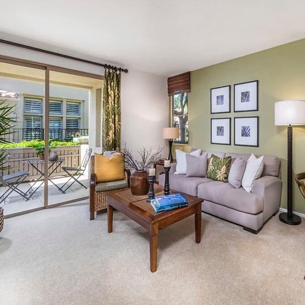 Interior view of living room at San Mateo Apartment Homes in Irvine, CA.