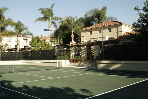 View of tennis court at San Mateo Apartment Homes in Irvine, CA.